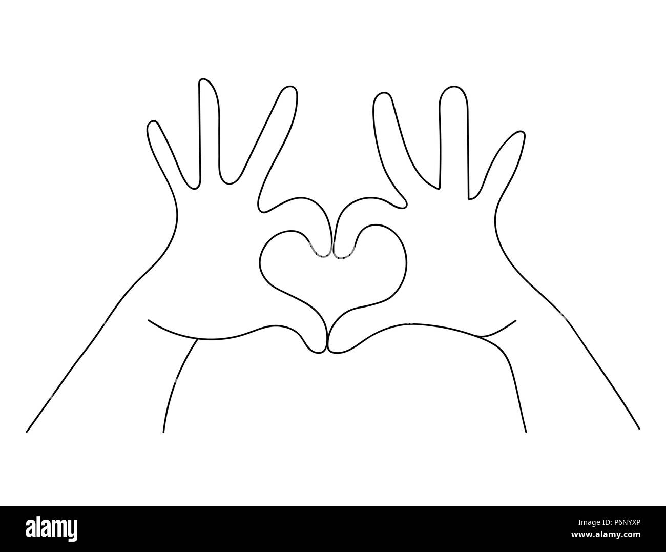 Hands making heart shape sign concept in simple outline style