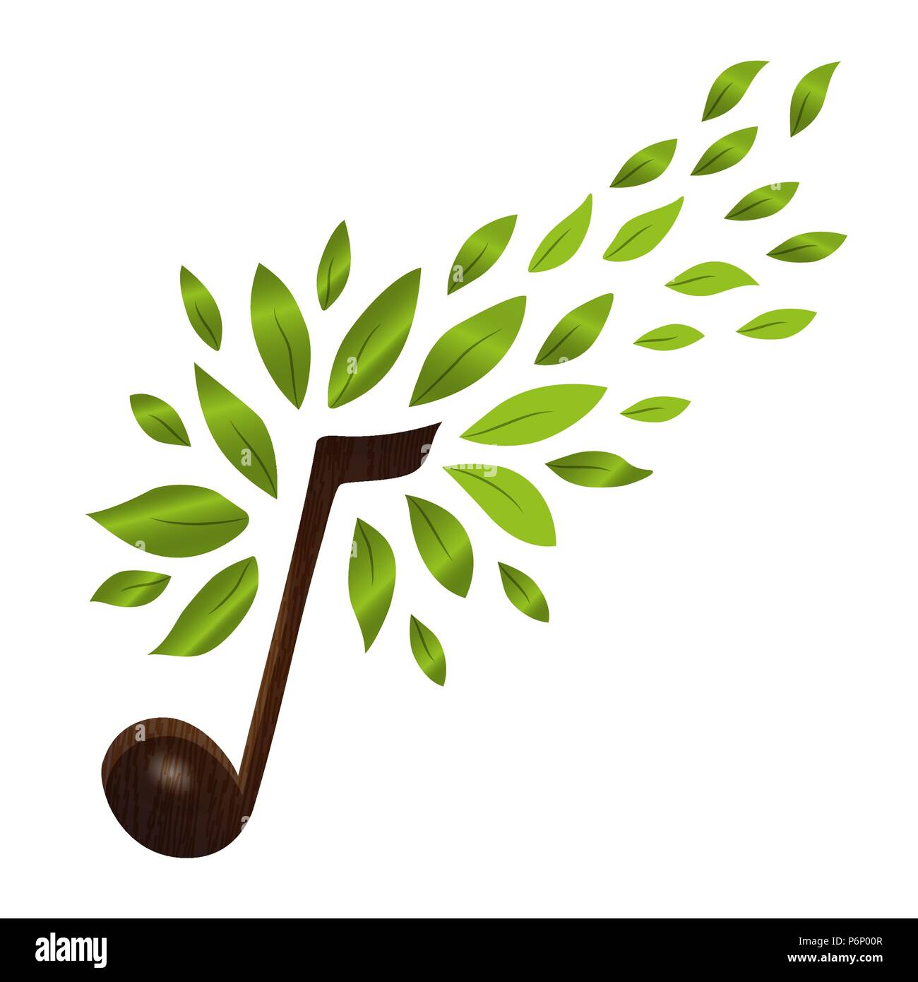 Music Note With Green Tree Leaves Concept Illustration Of Musical