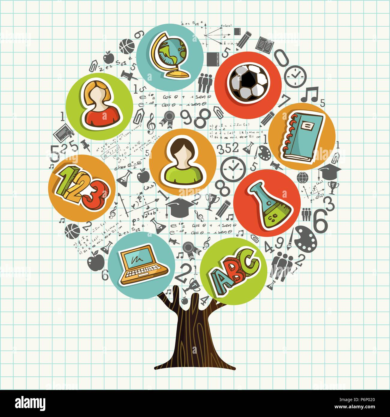 Tree Made Of Highschool Subject Icons And Symbols Global Education