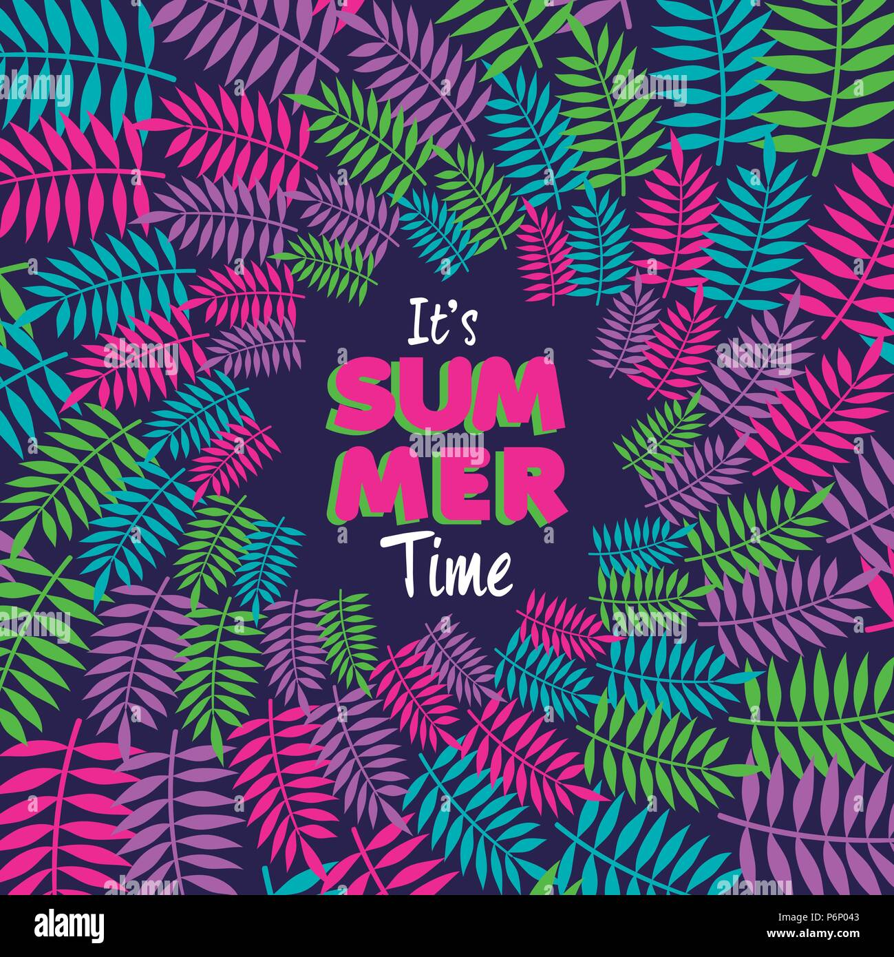 Happy Summer Greeting Card Design With Tropical Beach Palm Leaf Decoration  And Typography Quote. EPS10 Vector.