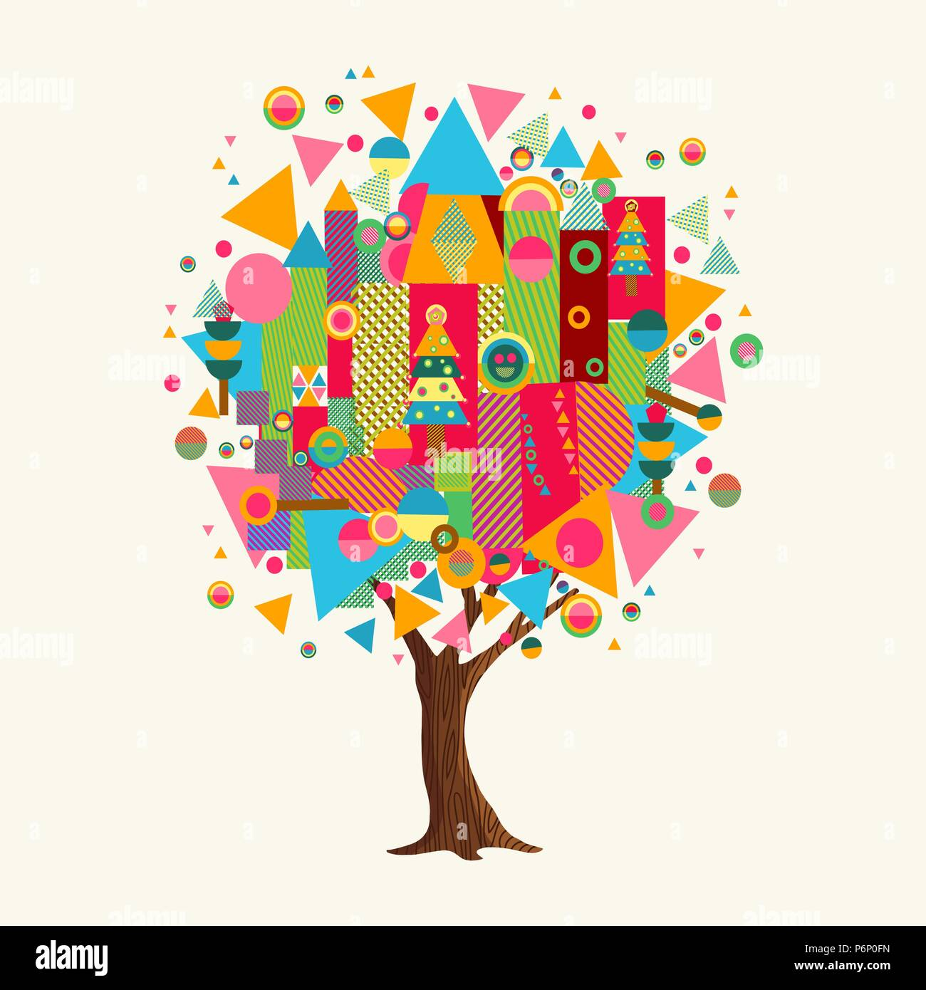 Tree Made Of Colorful Abstract Shapes Vibrant Color Geometric Icons