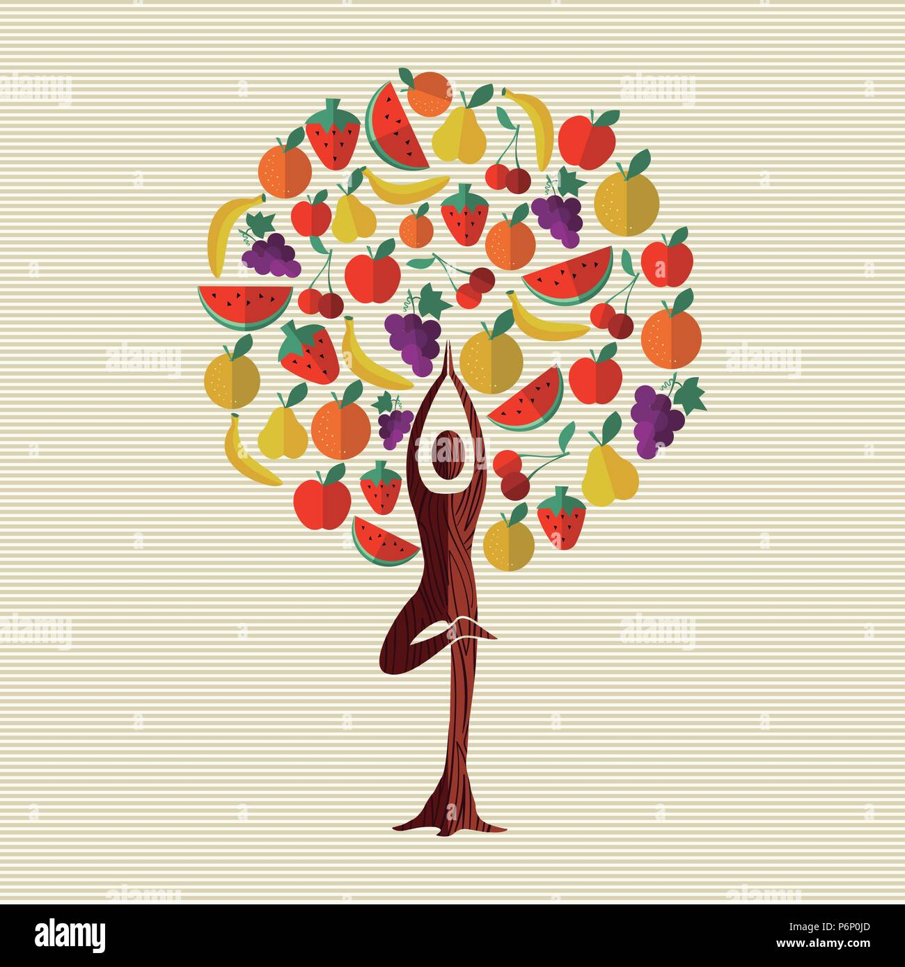 Tree made of fruit with woman doing yoga pose. Healthy eating and diet concept. Includes watermelon, apple, orange, banana. EPS10 vector. - Stock Vector