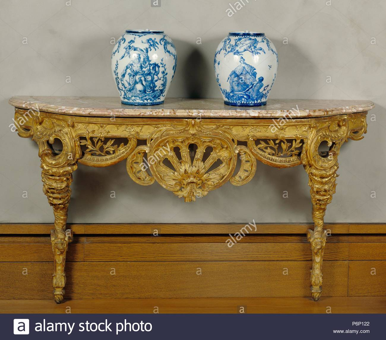 Console Table Unknown Piedmont Italy Europe About 1730 Carved And Gilded Oak Sarrancolin Marble Top Object H 87 X W 196 22 X D 78 11 Cm H