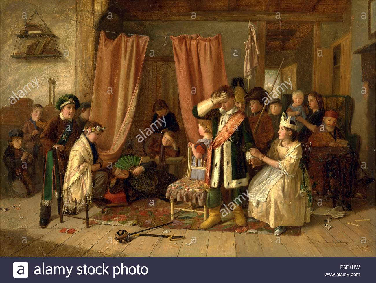 Children Acting The Play Scene From Hamlet Act II Ii Signed And Dated In Brown Paint