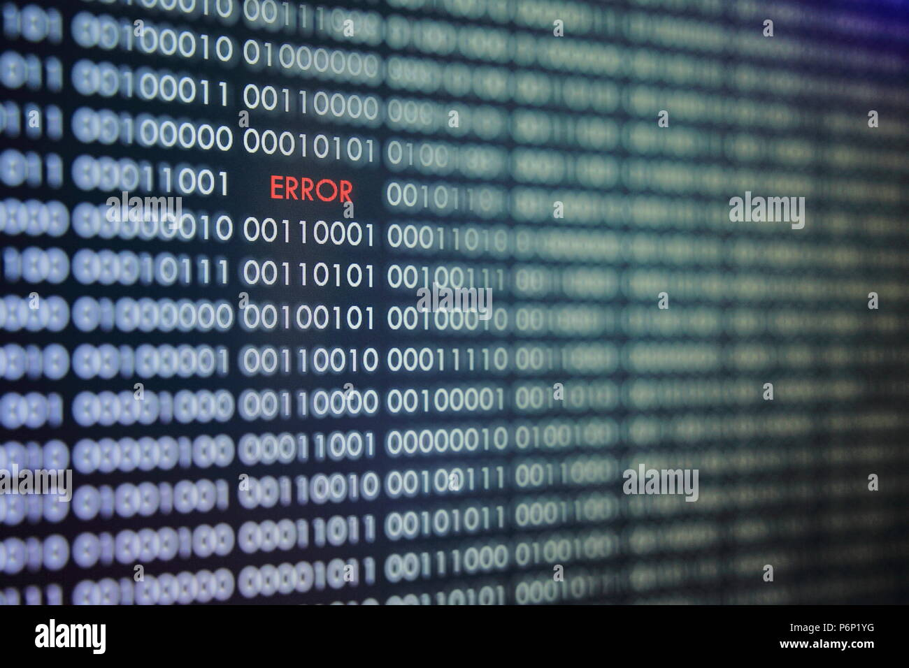 red error message on order binary code background  number one and