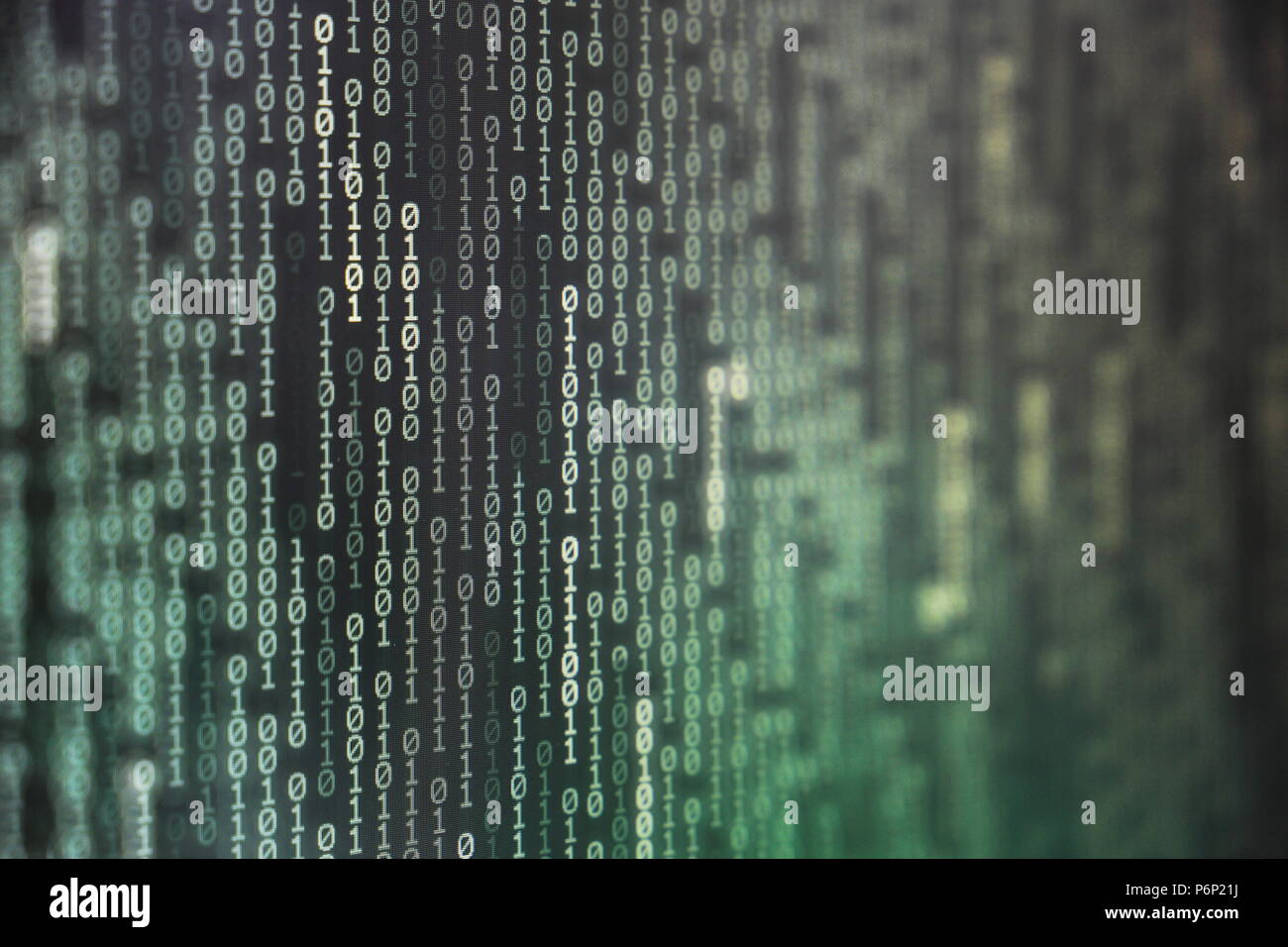 Space Transformation Stock Photos Circuit Board And Binary Code Forming A Mysterious Night Landscape Of Power Big Data Information Bit On Computer Monitor Screen Display Green