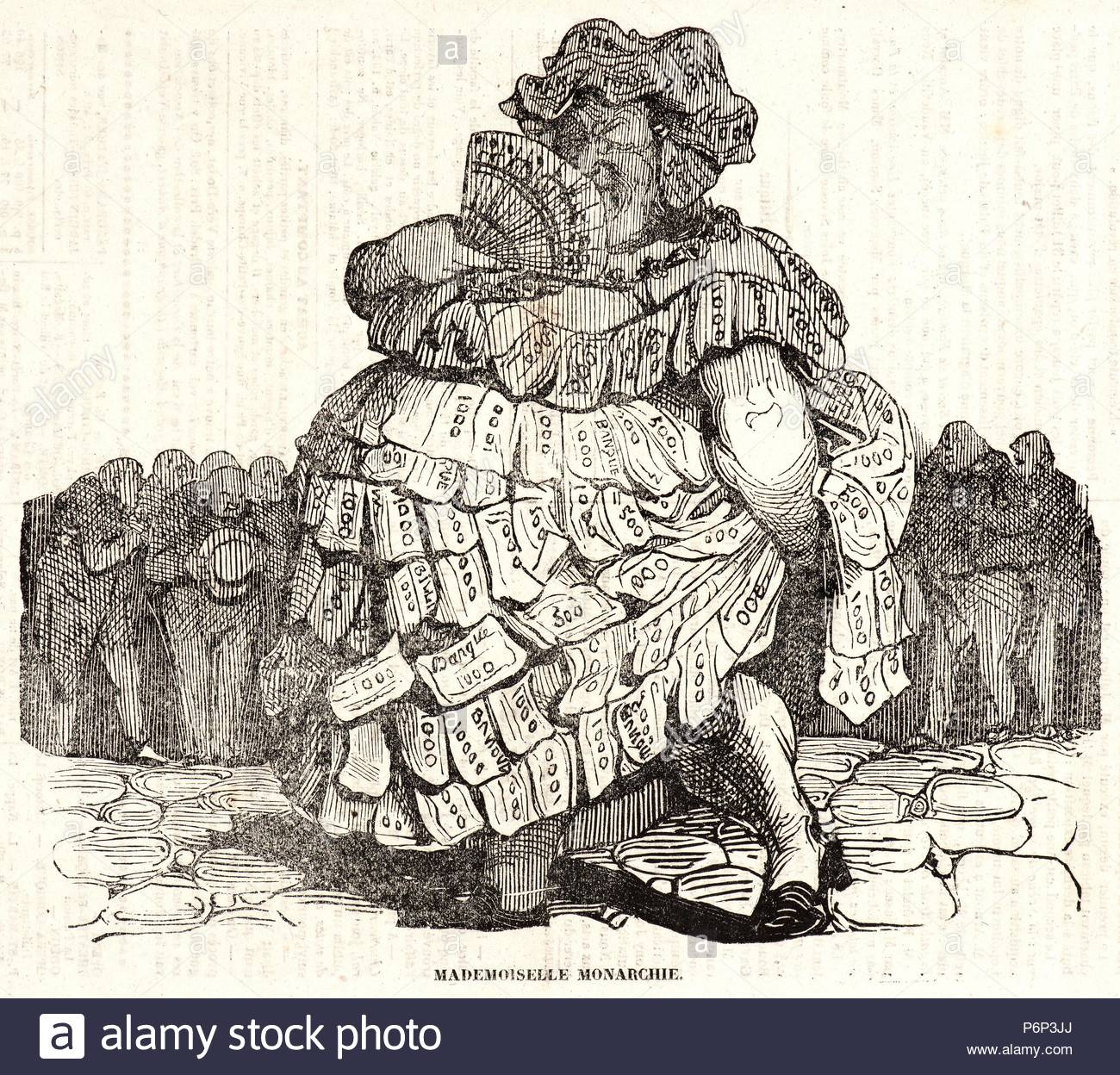 Honoré Daumier (French, 1808 - 1879). Mademoiselle Monarchie, 1834. Wood  engraving on newsprint paper. Image: 180 mm x 212 mm (7.09 in. x 8.35 in.).