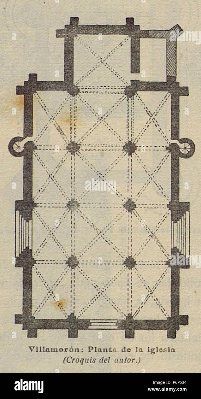 1920-06, Boletín de la Sociedad Española de Excursiones, Villamorón, planta de la iglesia, Vicente Lampérez. Stock Photo