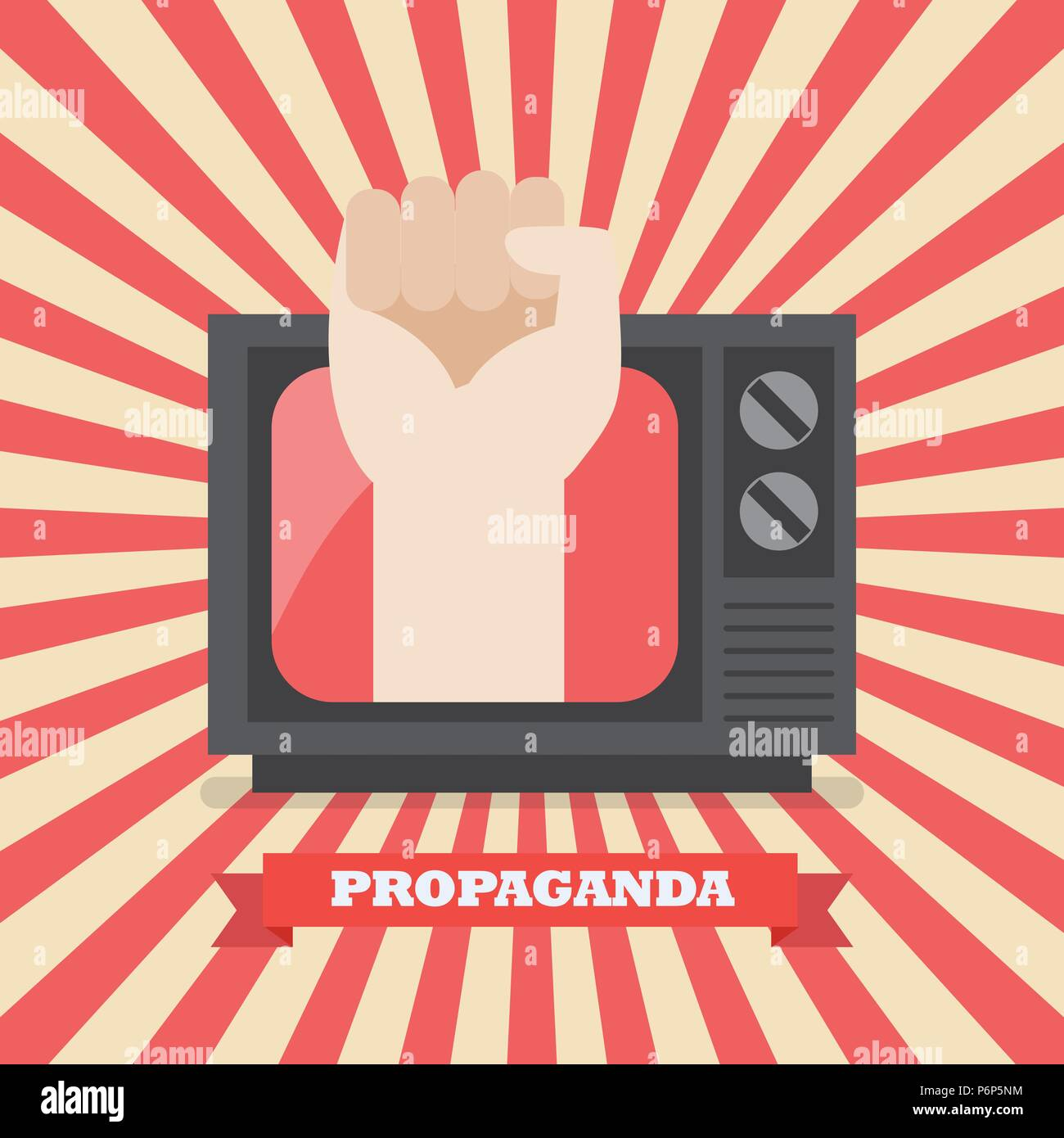 Fist hand in retro television. Television Propaganda Poster Vector illustration - Stock Vector