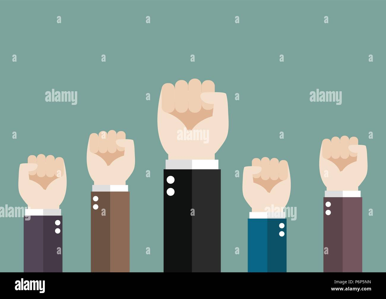 Hands of Business team raised fist air. Business teamwork concept - Stock Vector