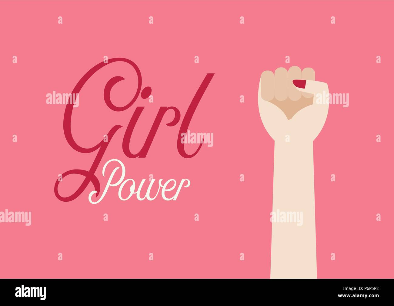 Woman fist hand and inscription Girl power. Vector illustration poster - Stock Vector