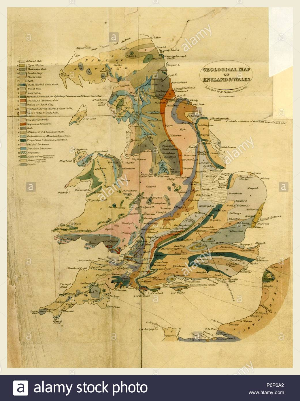 Outlines of the Geology of England and Wales, map, 19th century engraving. - Stock Image