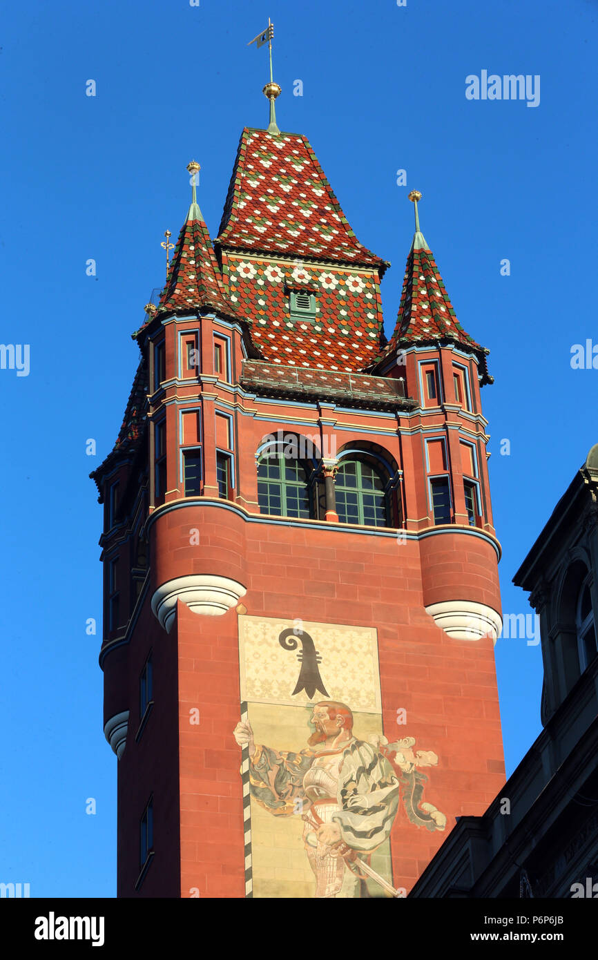 Tower of the red medieval Basel Town Hall (Rathaus). Basel. Switzerland. - Stock Image