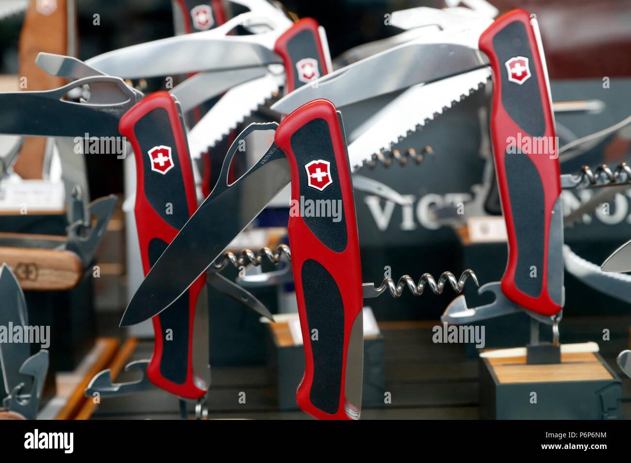 Victorinox swiss army knifes for sale.  Geneva. Switzerland. - Stock Image