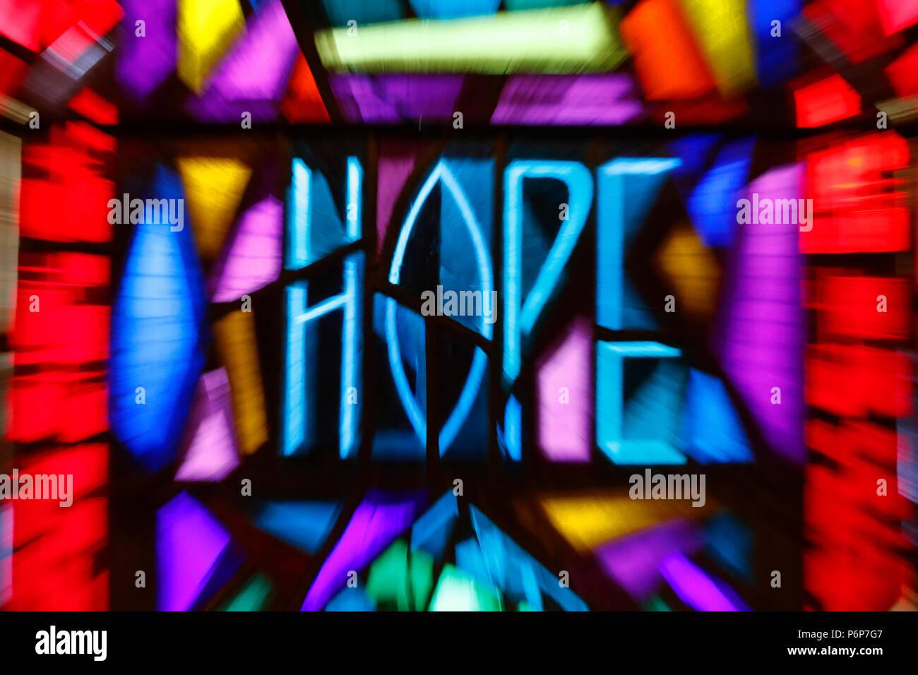 The church of the Holy Trinity.   Stained glass window.  Hope.  Geneva. Switzerland. - Stock Image
