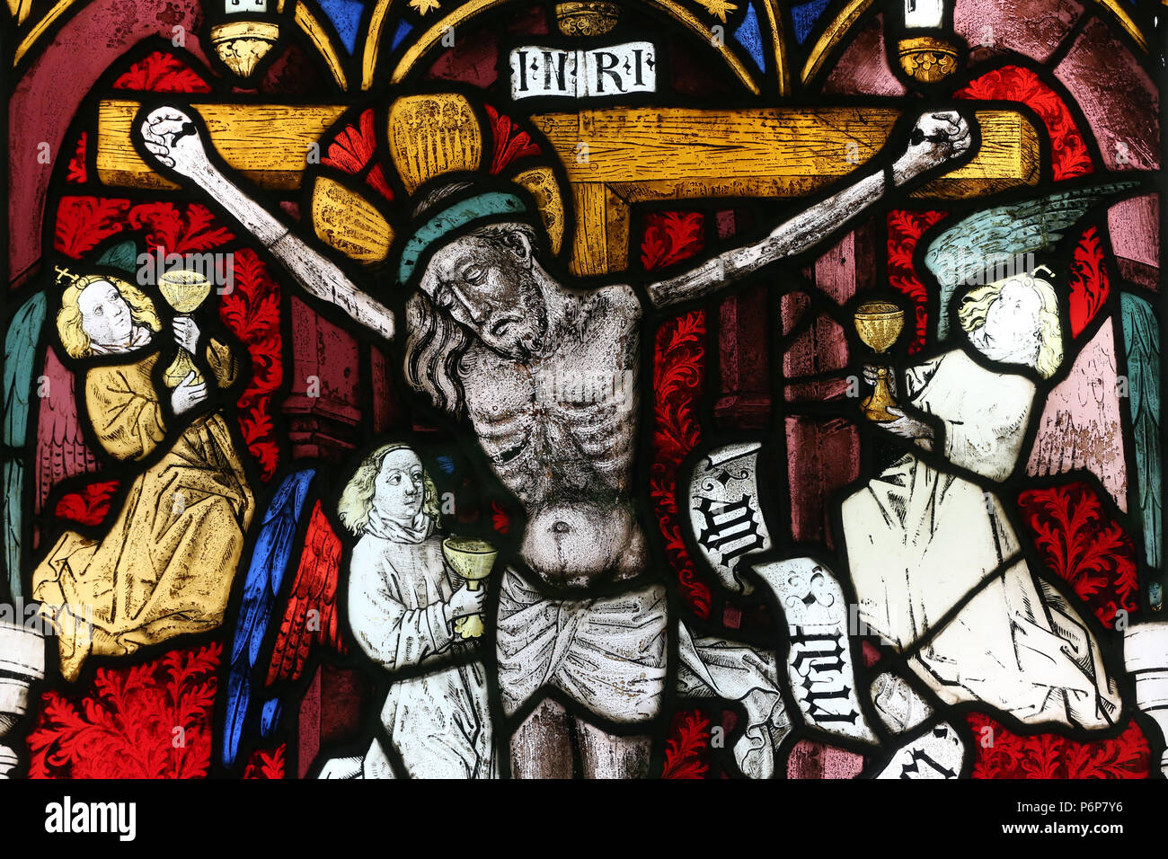 The Museum of History.  Stained glass window.  The crucifixion.  Jesus on the cross.  Detail.  Basel. Switzerland. - Stock Image