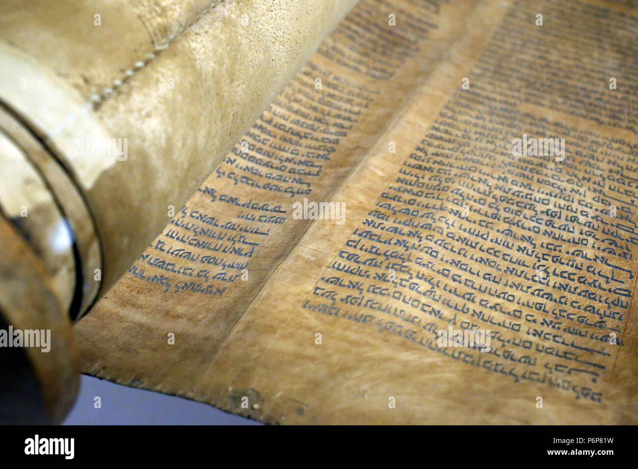Jewish Museum of Switzerland. Basel.  Old Torah scroll with Hebrew writing (1720). Close-up. - Stock Image