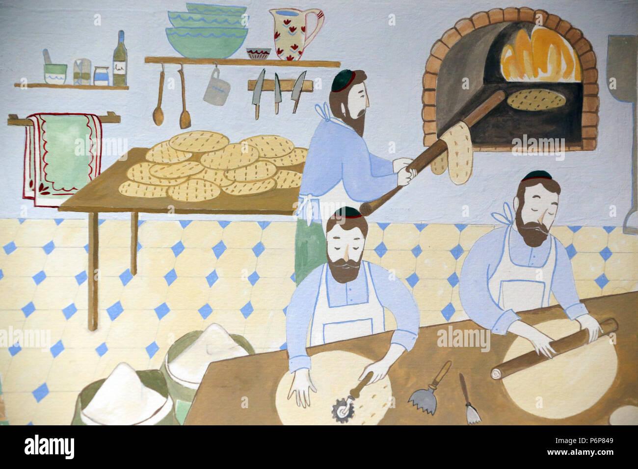 Jewish Museum of Switzerland. Basel. Passover. Matzo, the bread of affliction. - Stock Image