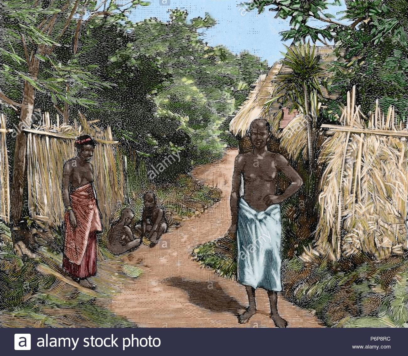 French imperialism. Africa. Dahomey. A street of Porto-Novo. Official residence of the French governor. Engraving in The Spanish and American Illustration, 1890. Colored. - Stock Image