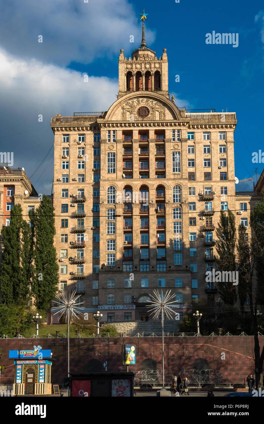 Stalinist-style building on Khreshchatyk street, Kiev. Ukraine. - Stock Image