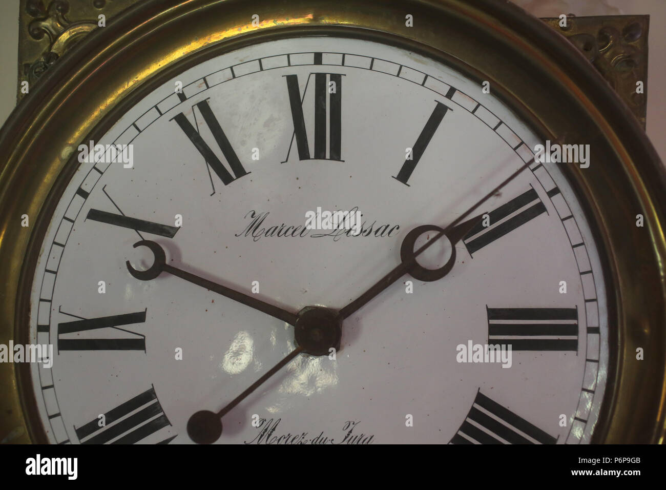 Detail of a clock. France. - Stock Image