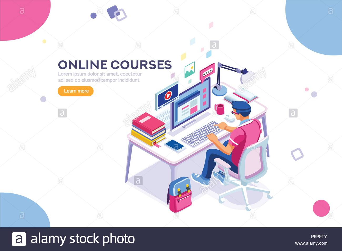 Character Design Courses University : Student character studying and thinking sitting at desk and