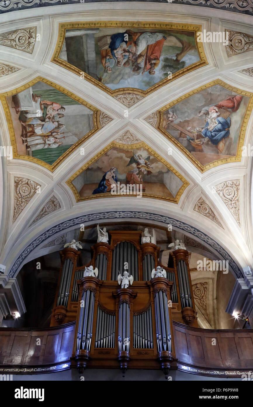 Saint-Jacques church. Pipe organ.  Sallanches. France. - Stock Image