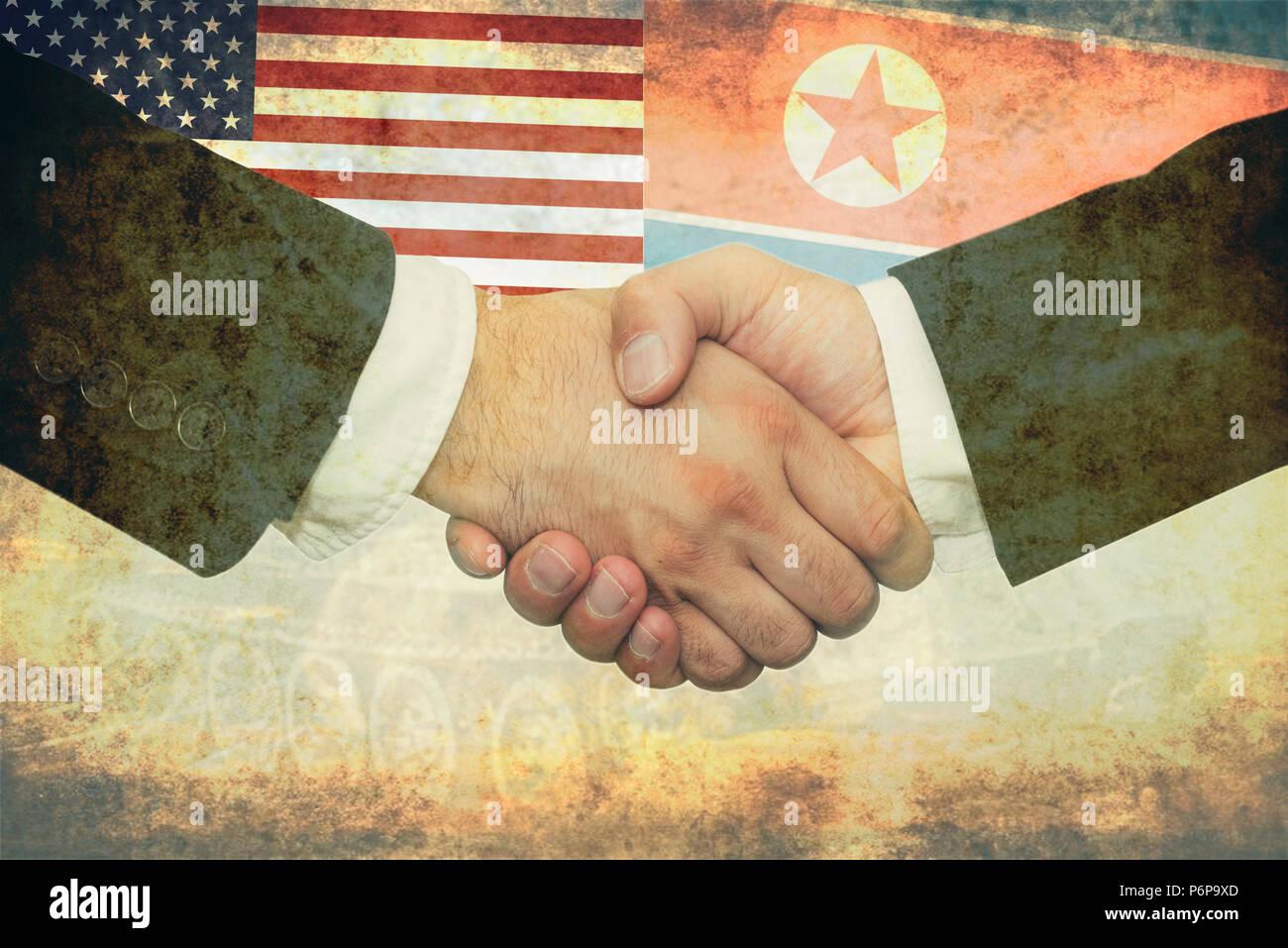 USA - North Korea peace concept - Stock Image