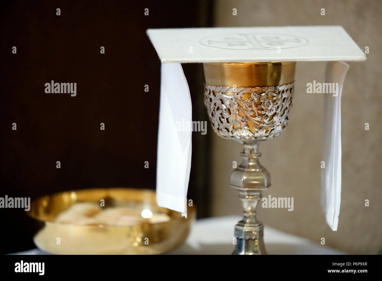 Saint Jacques Church Eucharist Table With The Liturgical Items