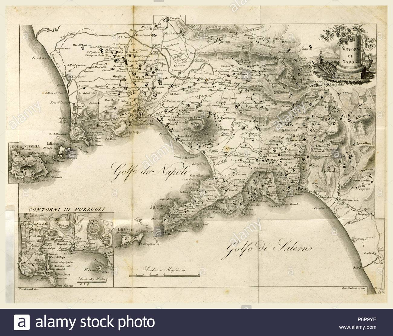 Map of Napels, Golf of Napels, Napoli e Contorni, Editore L. Galanti, Italy, 19th century engraving. - Stock Image
