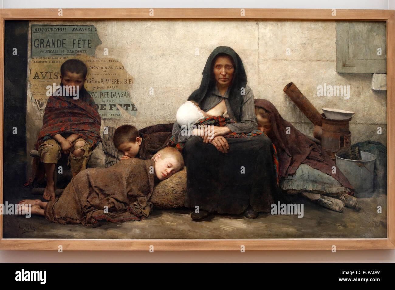 Petit Palais museum, Paris, France. Fernand pelez, Sans asile (Homeless), 1883, oil on canvas. - Stock Image