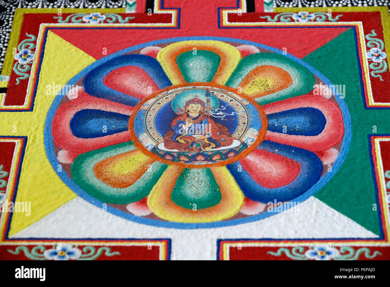 Tibetan Buddhist sand mandala. Padmasambhava also known as Guru Rinpoche. - Stock Image