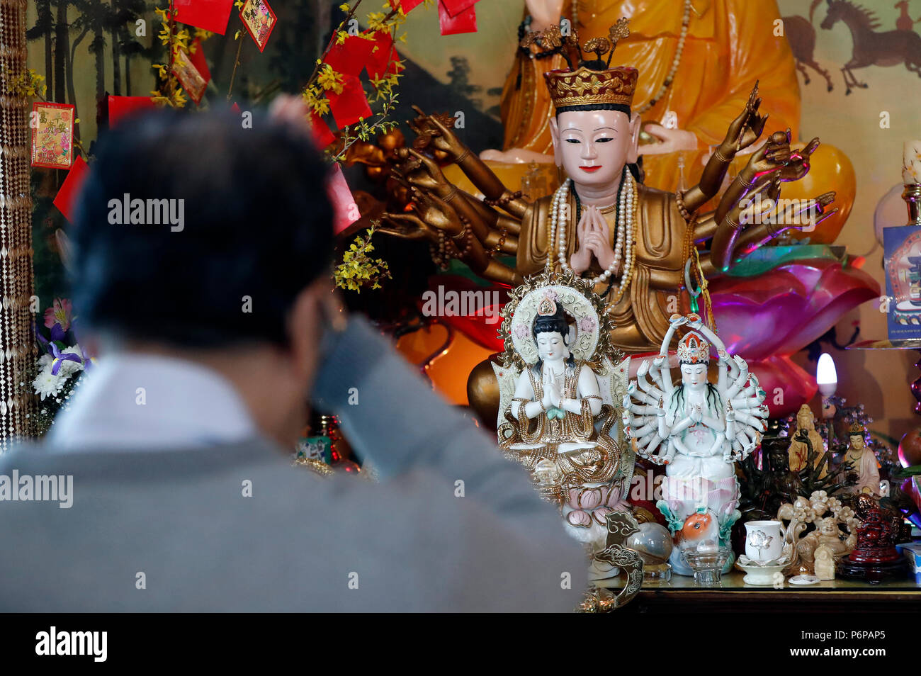 Chua Tu An Buddhist temple.Buddhist worship.  Saint-Pierre en Faucigny. France. - Stock Image