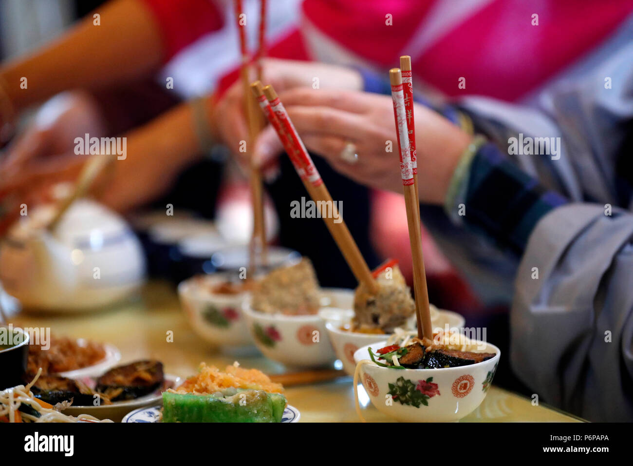 Chua Tu An Buddhist temple. Ancestor worship. Buddhist ceremony and vegetarian offerings. Saint-Pierre en Faucigny. France. - Stock Image