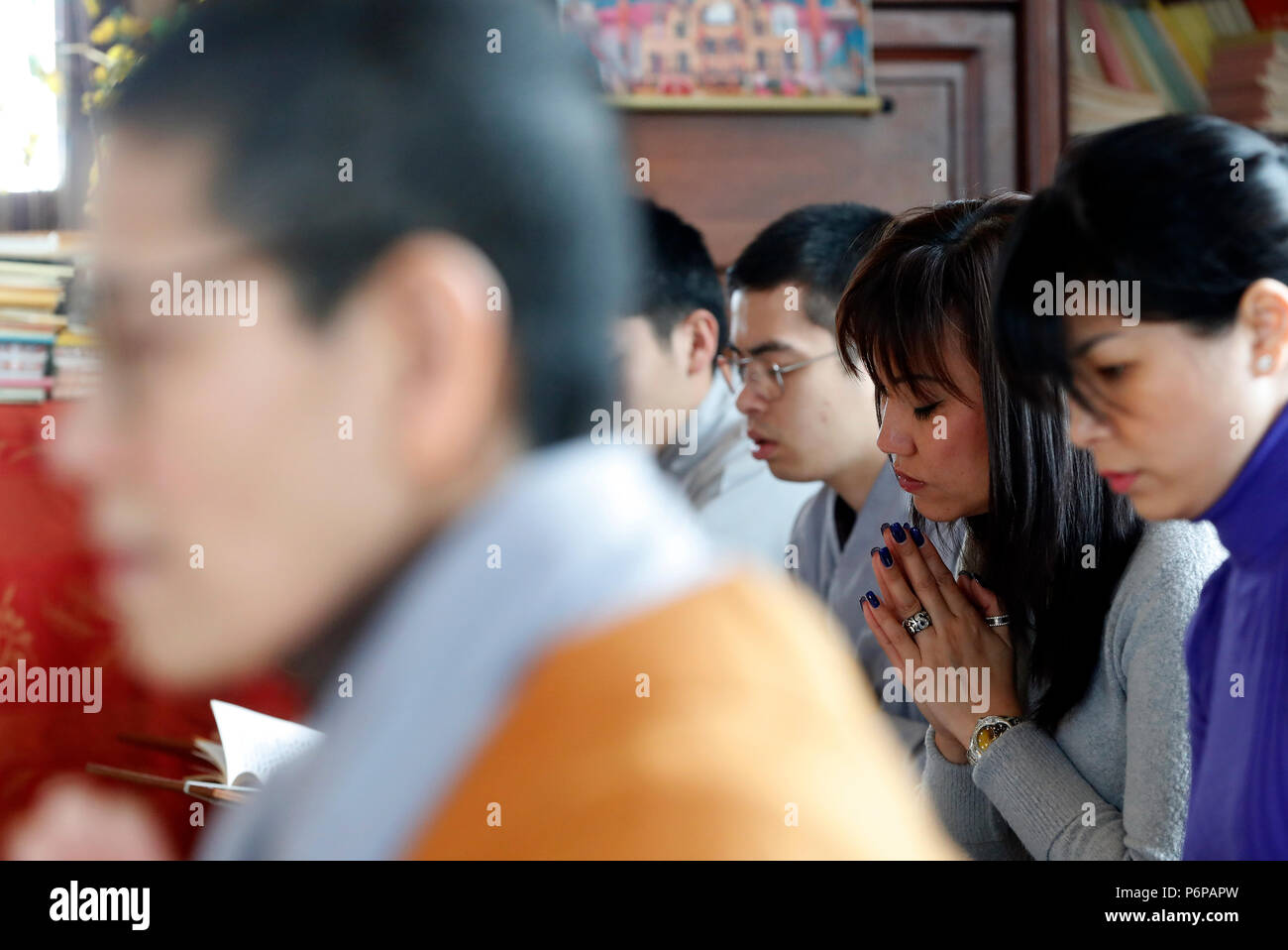 Chua Tu An Buddhist temple. Vietnamese New Year ( Tet ) celebration.  Saint-Pierre en Faucigny. France. - Stock Image