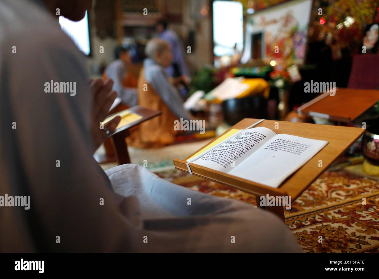 Chua Tu An Buddhist temple. Buddhist celebration.  Saint-Pierre en Faucigny. France. - Stock Image