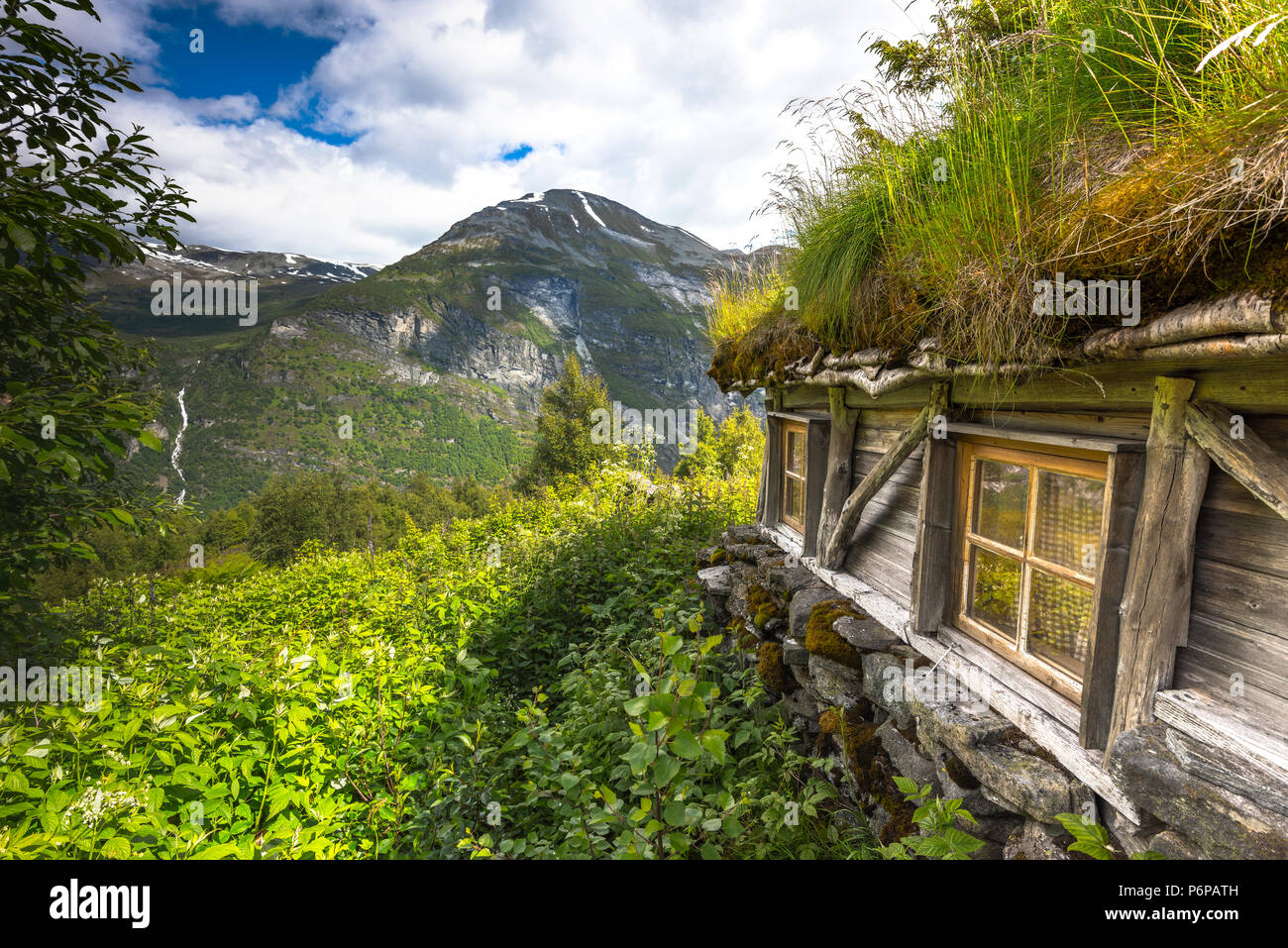 ancient alp huts of Homlongsetra, Norway, alpine huts of former mountain farmers - Stock Image
