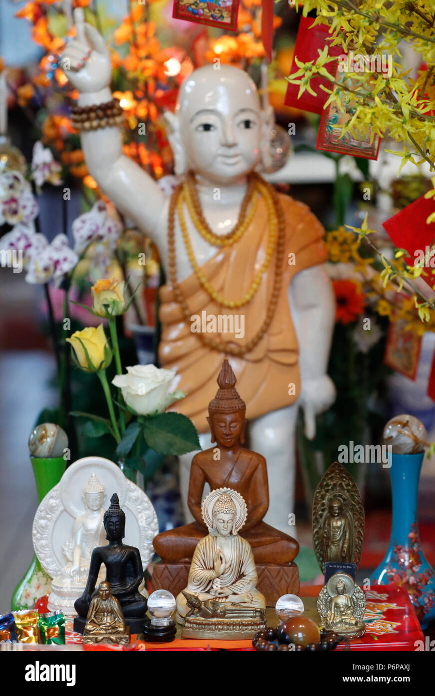 Chua Tu An Buddhist temple.  Infant Buddha statue.  Saint-Pierre en Faucigny. France. - Stock Image