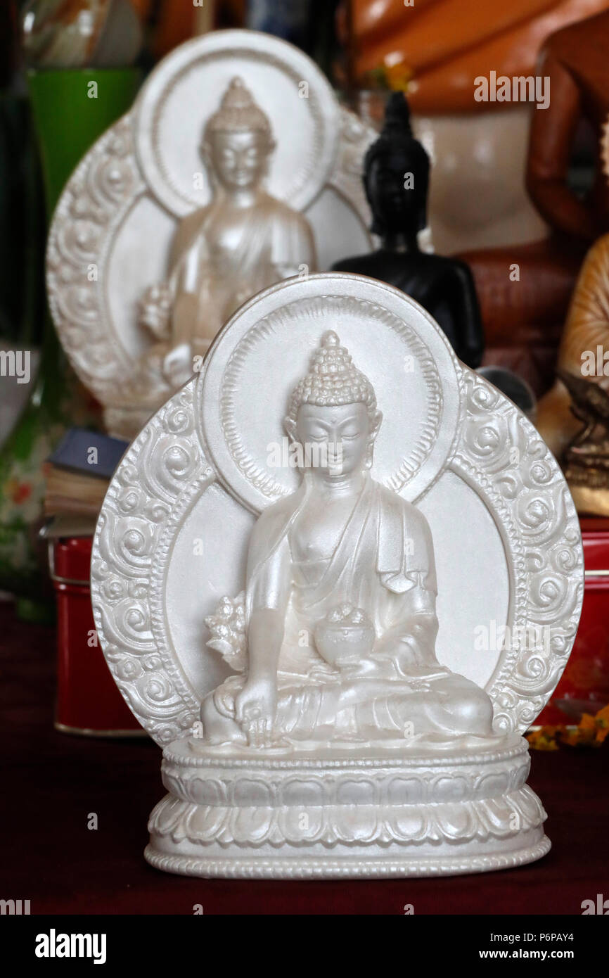 Bhai ajyaguru  is the Buddha of healing and medicine in Mahayana Buddhism. Saint-Pierre en Faucigny. France. - Stock Image