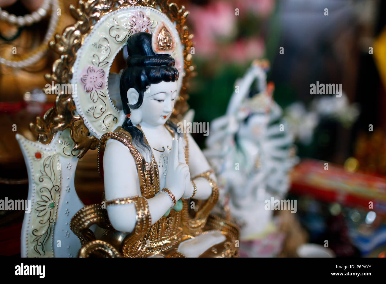 Chua Tu An Buddhist temple. Quan Am bodhisattva of compassion or goddess of Mercy. Saint-Pierre en Faucigny. France. - Stock Image