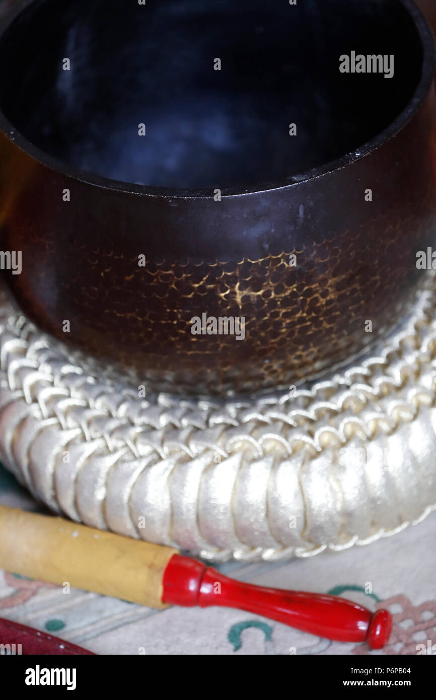 Chua Tu An Buddhist temple. Singing bowl. Close-up.  Saint-Pierre en Faucigny. France. - Stock Image