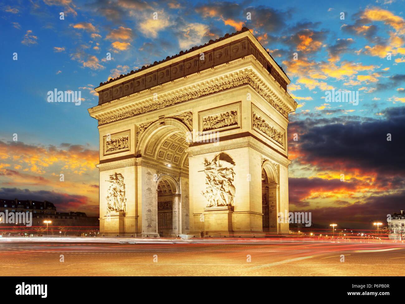 Paris, Arc de Triumph, France - Stock Image