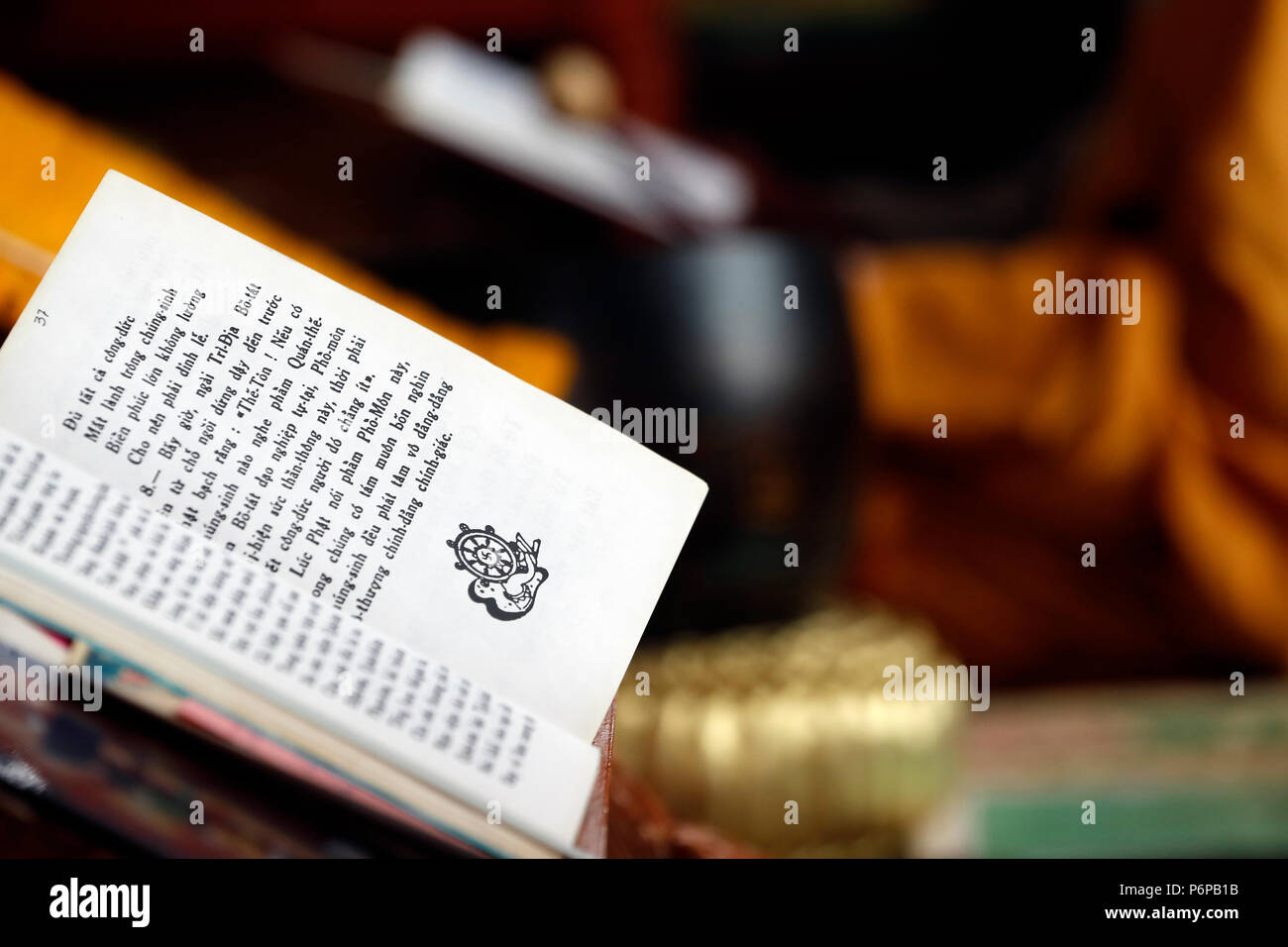 Chua Tu An Buddhist temple. Buddhist book in Vietnamese for ceremony.  Saint-Pierre en Faucigny. France. - Stock Image