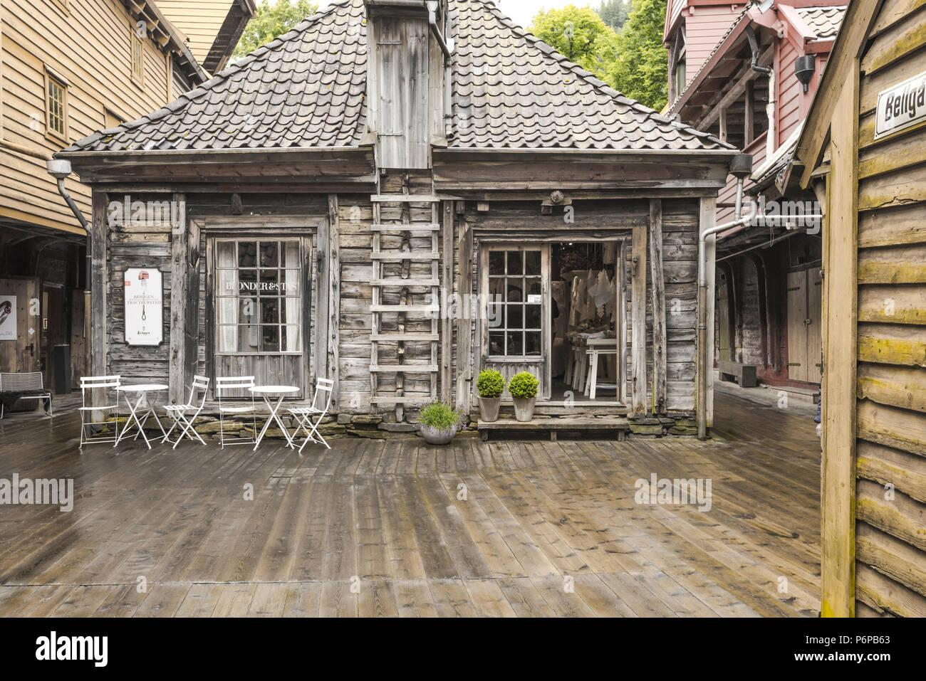 Old Hanseatic buildings of Bryggen in Bergen, Norway, inner view, Bellsgarden or Bellgarden Stock Photo