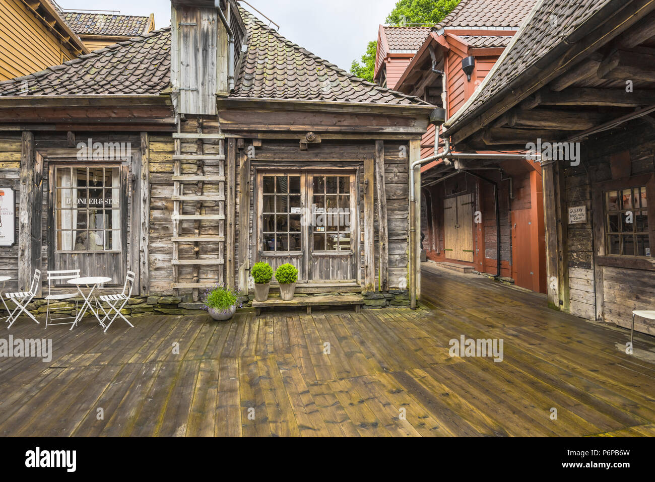 Old Hanseatic buildings of Bryggen in Bergen, Norway, inner view, Bellsgarden or Bellgarden Stock Photo