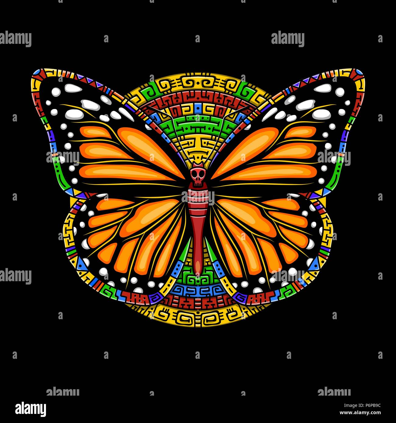 9dad38463 Butterfly machaon in Mexican style.Vector beautiful swallowtail boho t-shirt  design. Mystical esoteric symbol of freedom, travel, tourism.