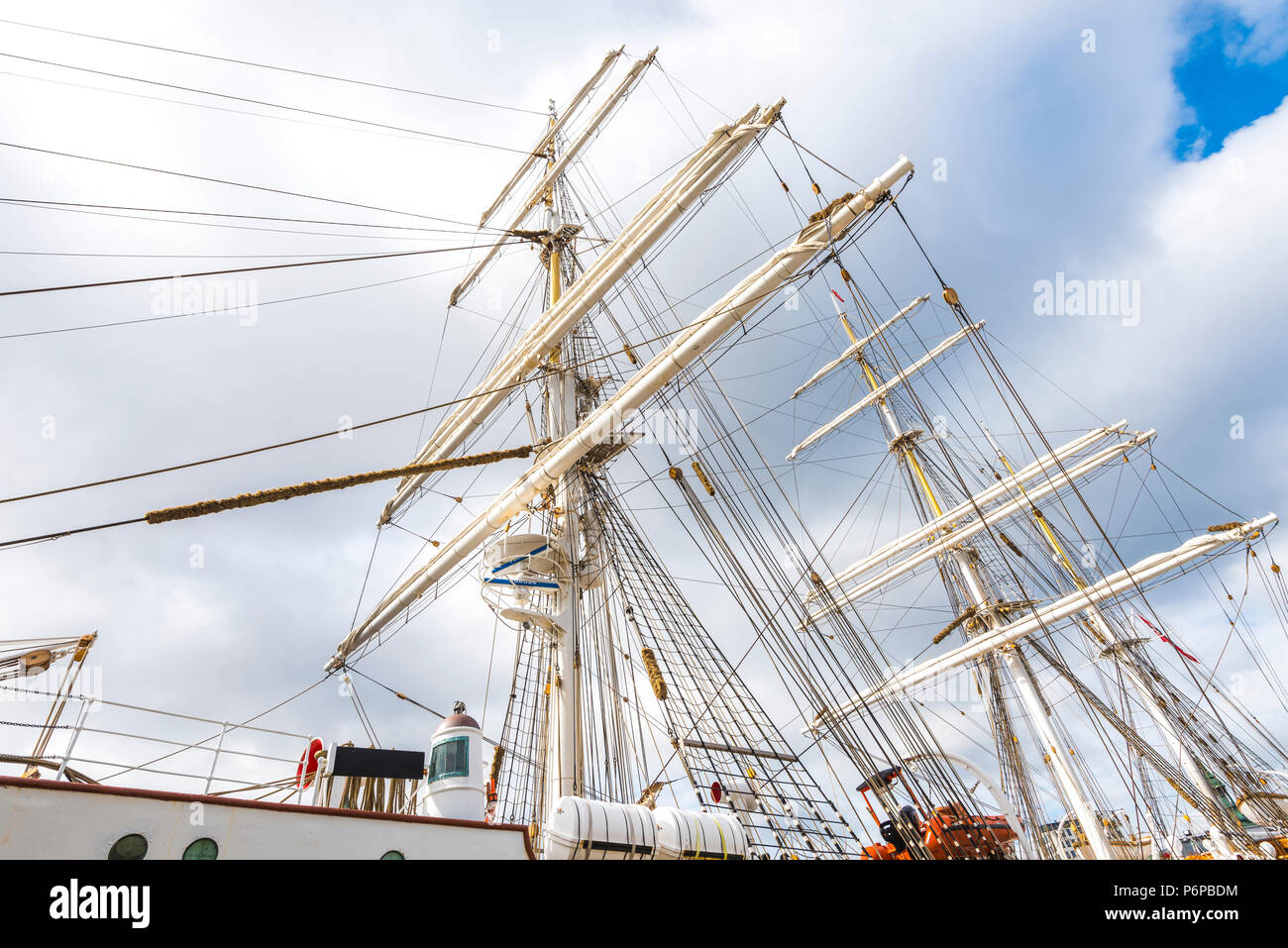 rigging of sailing ship, town Bergen, Norway - Stock Image
