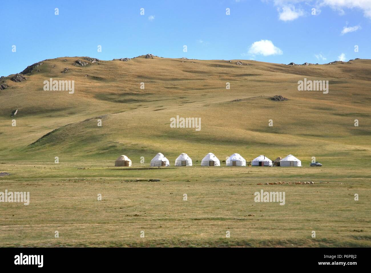 Ger camp in a large meadow at Ulaanbaatar , Mongolia - Stock Image