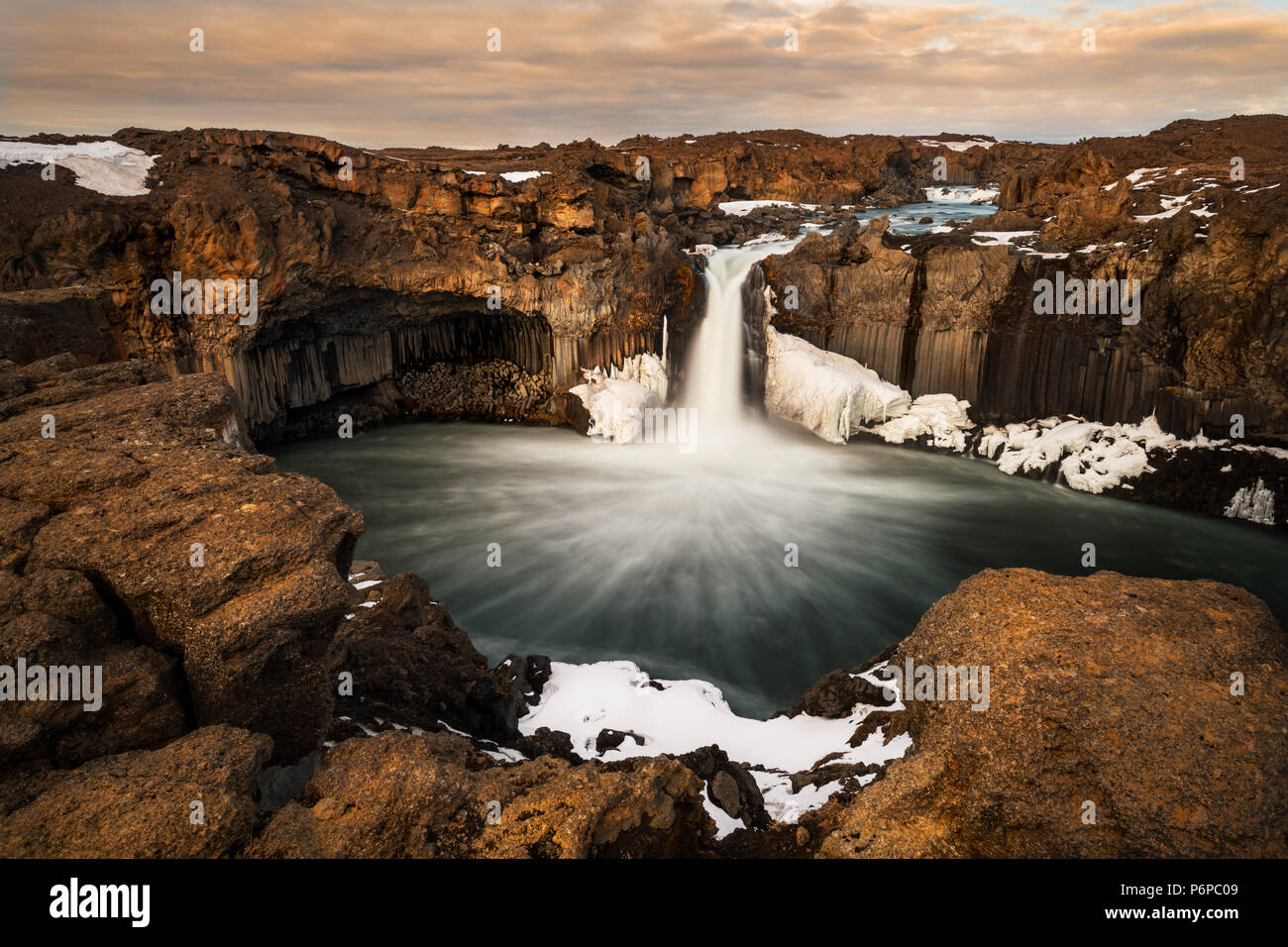 Magical Aldeyjarfoss in the highlands of Iceland. - Stock Image
