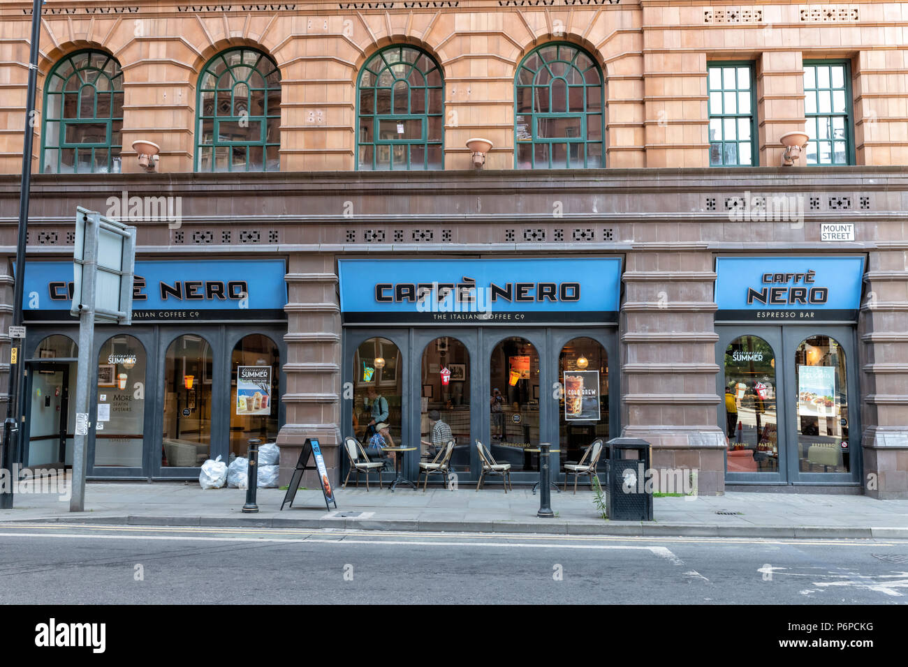 A branch of Caffe Nero coffee shop in Mount Street, Manchester, UK - Stock Image